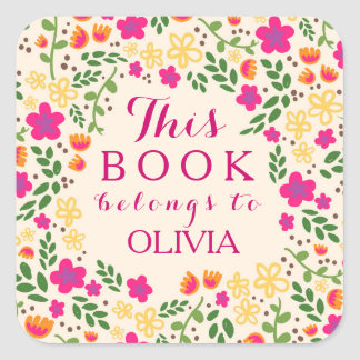 Colorful Pretty Floral This Book Belongs Stickers