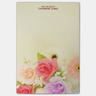 Colorful Pretty Flowers | Personalized Floral Post-it® Notes