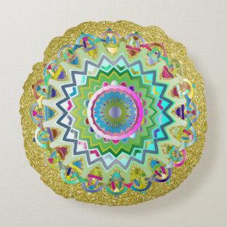 Colorful Prismatic Celtic Knots Gold Faux Glitter Round Cushion