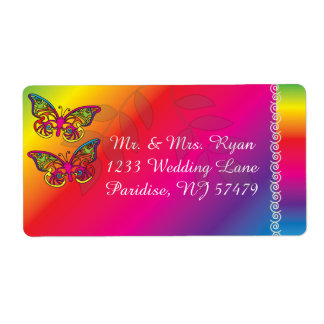 Colorful Psychedelic Butterfly Designs Shipping Label