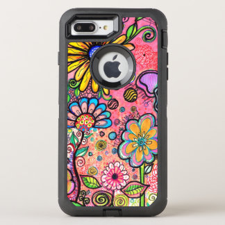 Colorful Psychedelic Flower Drawing OtterBox Defender iPhone 8 Plus/7 Plus Case
