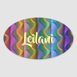 Colorful Psychedelic Pattern Name Stickers