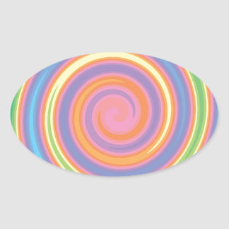 Colorful psychedelic pinwheel swirl design oval sticker