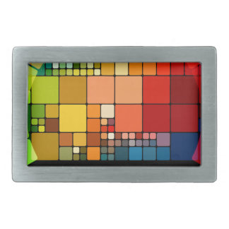 Colorful psychedelic rectangular belt buckles