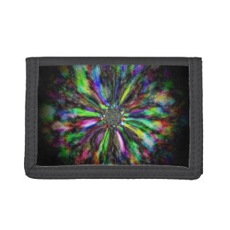 Colorful psychedelic sketch of a flower tri-fold wallet