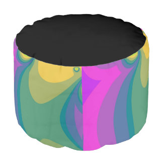 Colorful Psychedelic Swirls Pouf