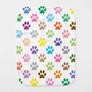 Colorful puppy paw prints burp cloth