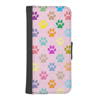 Colorful puppy paw prints iPhone SE/5/5s wallet case