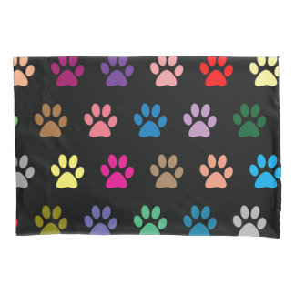 Colorful puppy paws pattern pillowcase
