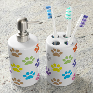 Colorful puppy paws print bathroom accessory set
