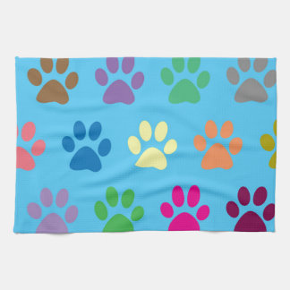 Colorful puppy paws print tea towel