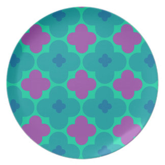 Colorful Purple and Blue Circle Pattern Plate