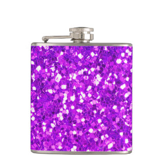 Colorful Purple Glitter Texture Hip Flask