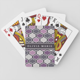 Colorful Purple Lattice Pattern with Name Playing Cards