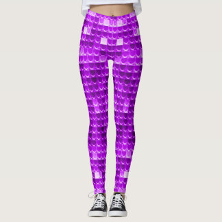 Colorful Purple Mermaid Scales Fantasy Leggings