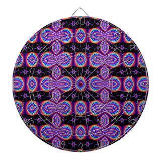 Colorful Purple Pattern on Black Dart Board