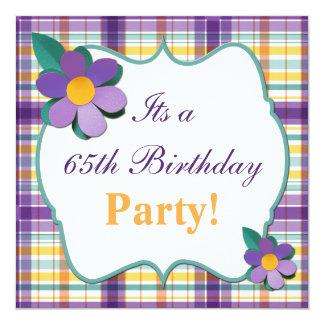 Colorful Purple Plaid 65th Birthday Invitation
