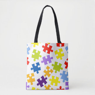 Colorful puzzle pattern tote bag