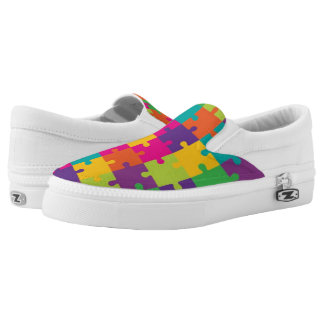 Colorful puzzle patterns printed shoes