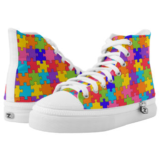 Colorful puzzle tiles printed shoes
