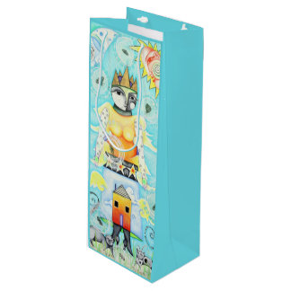 Colorful Queen Turquoise Wine Gift Bag