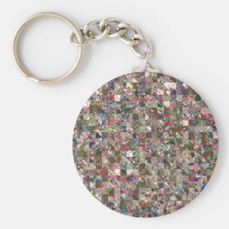 Colorful Quilt Pattern Key Ring