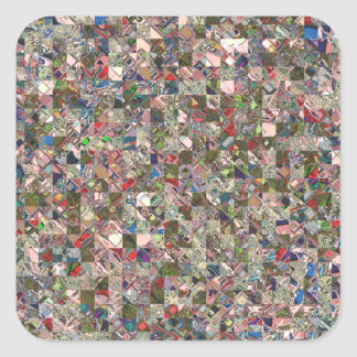 Colorful Quilt Pattern Square Sticker