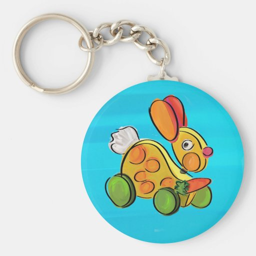 Colorful rabbit pull toy keychain