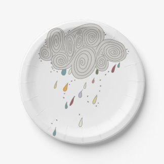 Colorful Rain Cloud Paper Plates