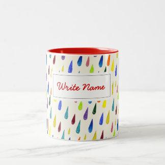 Colorful rain drops. Raindrop pattern Two-Tone Coffee Mug