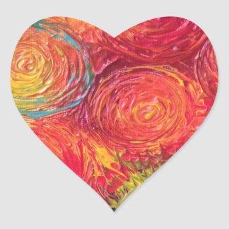 Colorful Rainbow Abstract Spirals Heart Sticker