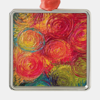 Colorful Rainbow Abstract Spirals Silver-Colored Square Decoration