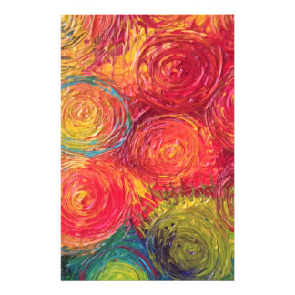 Colorful Rainbow Abstract Spirals Stationery Design