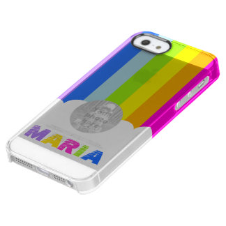 Colorful rainbow and cloud name iphone case