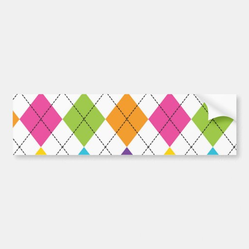 Colorful Rainbow Argyle Diamond Pattern Teen Gifts Bumper Sticker