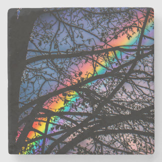 Colorful Rainbow | Autumn Tree Stone Coaster