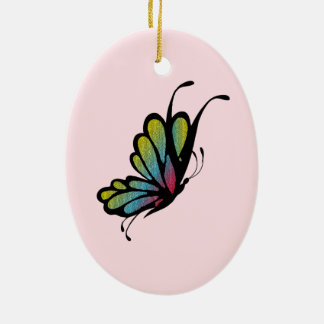 Colorful Rainbow Butterfly Pink Ceramic Oval Decoration