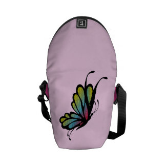 Colorful Rainbow Butterfly Pink Commuter Bag