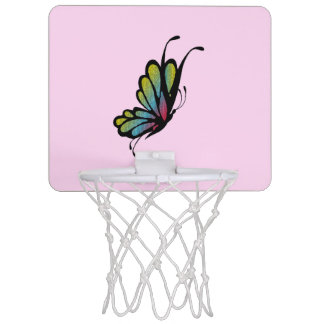 Colorful Rainbow Butterfly Pink Mini Basketball Hoop