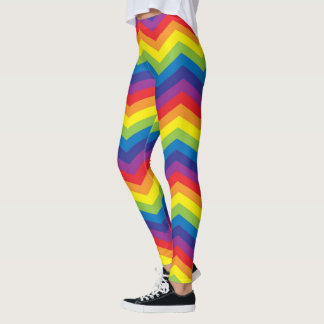 Colorful Rainbow Chevron Zigzag Leggings