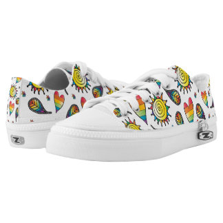 Colorful Rainbow Doodles Low Tops