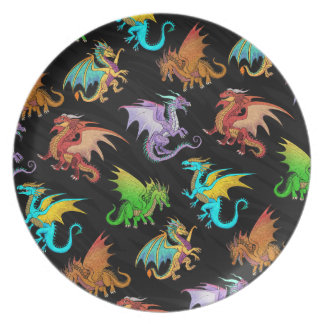 Colorful Rainbow Dragons School Plate