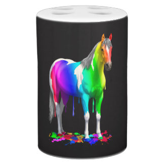 Colorful Rainbow Dripping Wet Paint Horse Bathroom Set