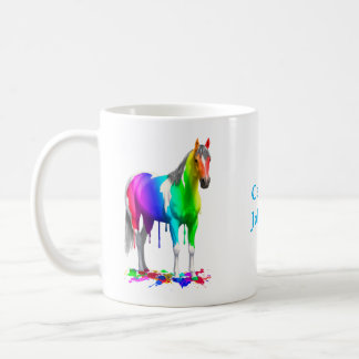 Colorful Rainbow Dripping Wet Paint Horse Coffee Mug