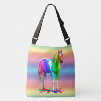 Colorful Rainbow Dripping Wet Paint Horse Crossbody Bag