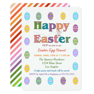 Colorful Rainbow Easter Egg Hunt Celebration Card