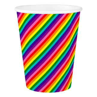 Colorful Rainbow Flag Stripes Pattern LGBT Bright Paper Cup