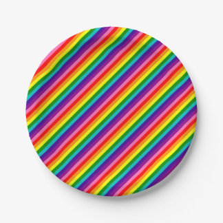 Colorful Rainbow Flag Stripes Pattern LGBT Bright Paper Plate