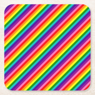 Colorful Rainbow Flag Stripes Pattern LGBT Bright Square Paper Coaster