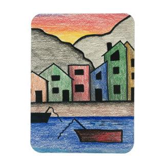 Colorful Rainbow Folk Art Seascape Magnet